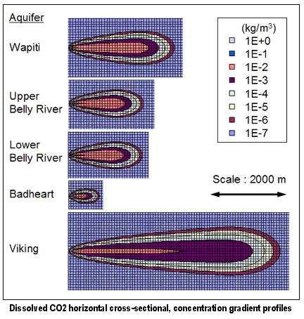Dissolved CO2 horizontal cross-sectional, concentration gradient profiles .